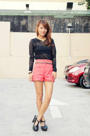 black Forever 21 top - salmon Be Bitko shorts - black Forever 21 heels