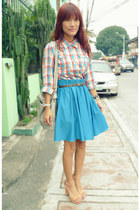 turquoise blue Closet Clothing skirt - aquamarine Giordano Ladies shirt