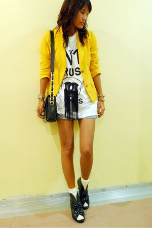 yellow thrifted blazer - white PROUDRACE shirt - black ichigoshoes shoes - yello
