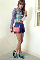 navy Sheinsidecom top - red Shoppe Unlimited bag - green Jcube wedges