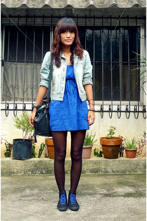 blue Topshop top - blue thrifted jacket - black Keds highcut sneakers shoes