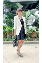 white The Ramp blazer - black SM dress - camel leopard print The Ramp loafers