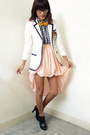 Black-h-m-boots-white-vintage-blazer-peach-from-singapore-skirt-yellow-bow