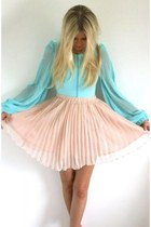 sky blue blouse - peach skirt