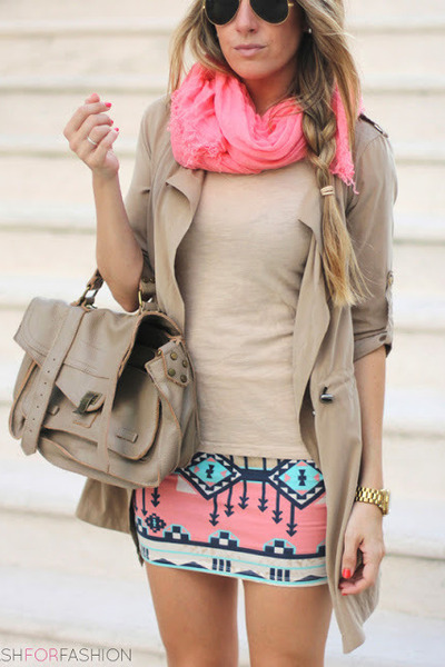 sky blue skirt - bubble gum skirt - tan jacket - bubble gum scarf - tan bag
