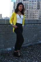 black Jeffrey Campbell shoes - gray Uniqlo pants - yellow Uniqlo cardigan - whit