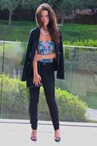 black Zara blazer - aquamarine Bershka top