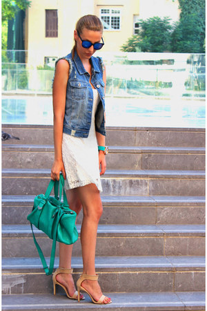 white Sheinsidecom dress - turquoise blue Zara bag