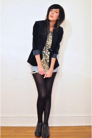 leopard print thrifted vintage top - black lace up pixie thrifted vintage shoes