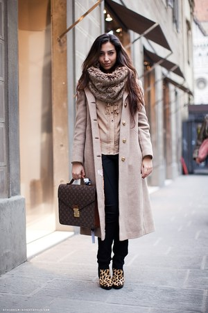 Aldo boots - vintage coat - Louis Vuitton bag - H&amp;M pants - Zara blouse