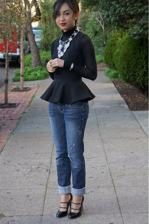 H&amp;M top - Guess jeans - BCBG sweater - nicole miller heels