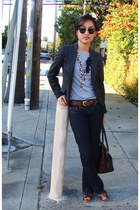 Guess jeans - Zara blazer - Tommy Hilfiger shirt - dooney & burke purse