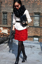 red Giambattista Valli skirt - light pink H&M jacket - Chanel bag