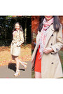 Red-knit-shift-sheike-dress-trench-burberry-coat-french-connection-scarf
