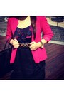 Hot-pink-thrifted-vintage-blazer-black-prada-purse
