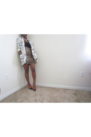 black Forever 21 shirt - white thrifted blazer - pencil skirt Forever 21 skirt