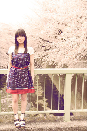 navy Riccimie dress - white Hush Puppy socks - brick red vintage belt - Park Lan