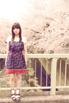 navy Riccimie dress - white Hush Puppy socks - brick red vintage belt - Park Lan