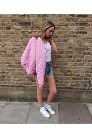 quilted bomber Motel jacket - denim shorts Primark shorts - Converse sneakers