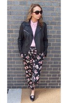 black Topshop shoes - black leather Topshop jacket - bubble gum shirt