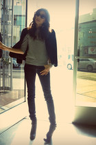black Evan Piccone blazer - navy Uniqlo jeans - charcoal gray Forever 21 top