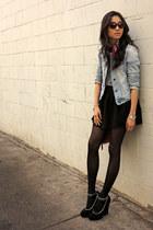black Forever 21 skirt - sky blue Abercrombie jacket - brick red Celine scarf