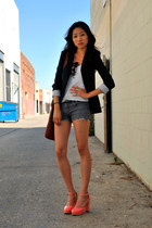 banana republic blazer - DIY shorts - H&M top