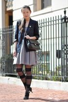 gray dress - blue blazer - black tights - black shoes