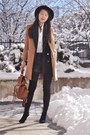 Black-boots-camel-coat-navy-blazer-black-shorts-white-blouse