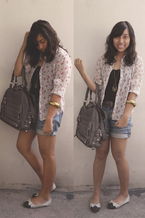 gray Charles and Keith bag - black Zara top - white floral top