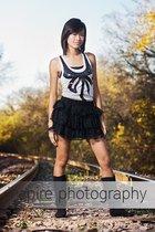 white Walmart Miley Cyrus top - black Forever 21 skirt - black amiclubwearcom bo