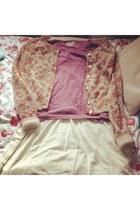 bubble gum cardigan - tan dress - maroon t-shirt