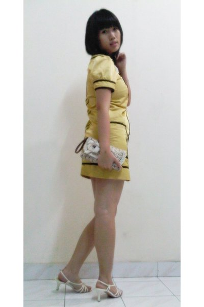 random brand dress - Charles & Keith shoes - random brand purse