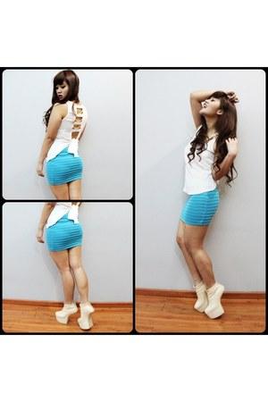 eggshell Noritaka tatenaha wedges - sky blue bandage skirt skirt - white top