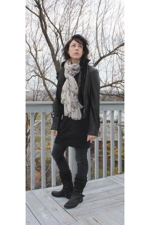 black Nine West boots - dark gray Forever 21 jeans - black Express dress - light