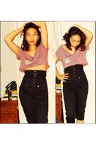 purple hollister shirt - black Terranova pants