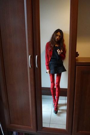 ruby red vivienne westwood cardigan - black vivienne westwood skirt