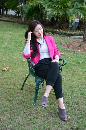 pink david jones blazer - gray Kookai top - black junk pants - gray Kasui shoes