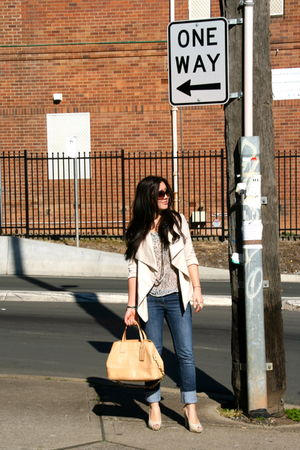 beige from markets jacket - blue sass &amp; bide jeans - black Glassons blouse