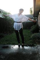 white shirt - gray jeans - black shoes - black belt