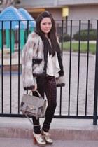 dark brown Forever 21 pants - brown faux fur Lanvin x H&M coat