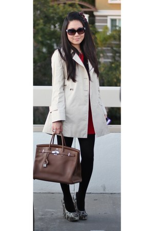 beige Gucci coat - red Forever 21 dress - brown Hermes bag