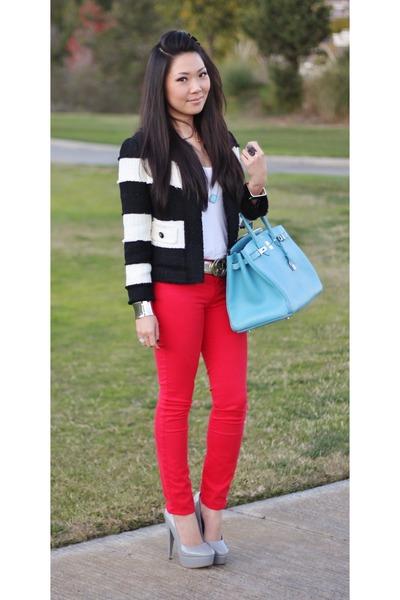 sky blue Hermes bag - red J Brand jeans - heather gray Steve Madden pumps