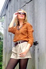 Burnt-orange-polka-dot-old-navy-blouse-brown-lace-up-charlotte-russe-boots