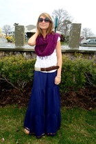 navy maxi Charlotte Russe dress - deep purple cotton Icing scarf - off white seq
