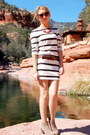 Camel-ankle-pacsun-boots-white-striped-forever-21-dress