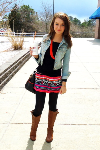 tawny leather Charlotte Russe boots - sky blue denim Abercrombie jacket - hot pi