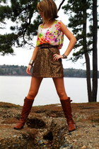 tawny leather Charlotte Russe boots - bronze sequined J Crew skirt - ivory flowy