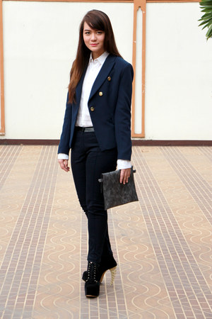 navy Mango blazer - black junejulia boots - white NIKICIO shirt