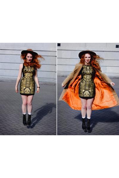 camel long coat vintage coat - gold gatsby bodycon dress - camel floppy hat hat